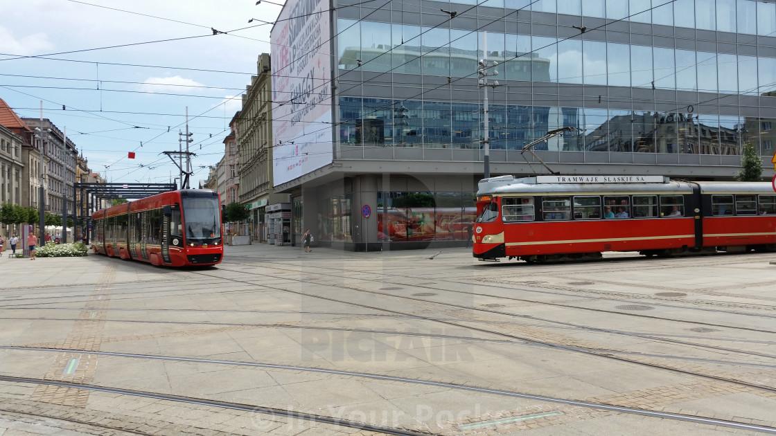 """Katowice tram crossing"" stock image"