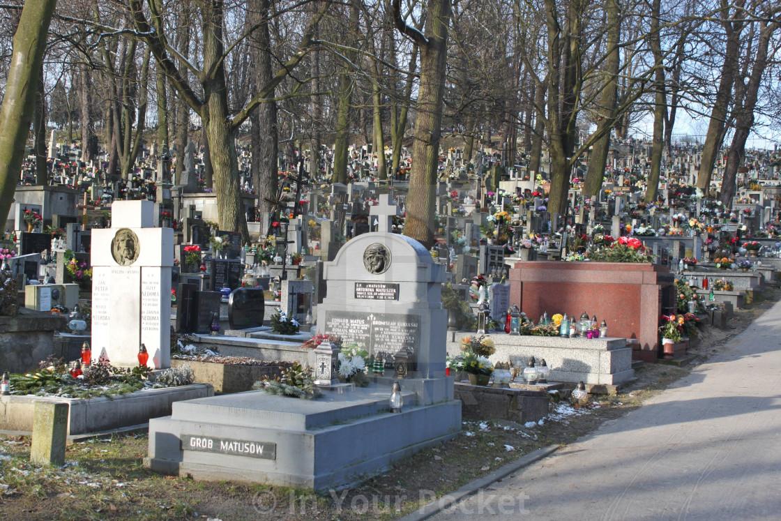 """""""New Podgórze Cemetery, Kraków"""" stock image"""