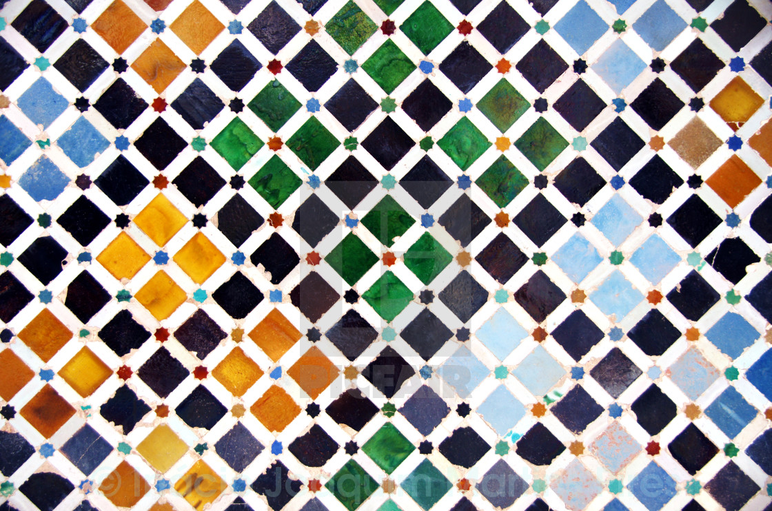 """Tile decoration, Alhambra palace, Spain"" stock image"