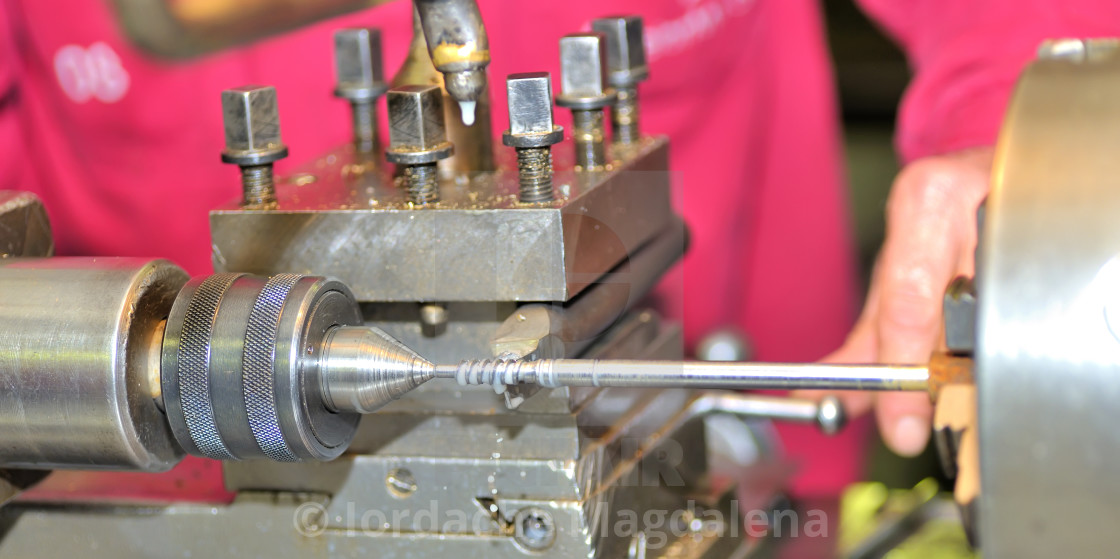 """Turning lathe in the workshop"" stock image"