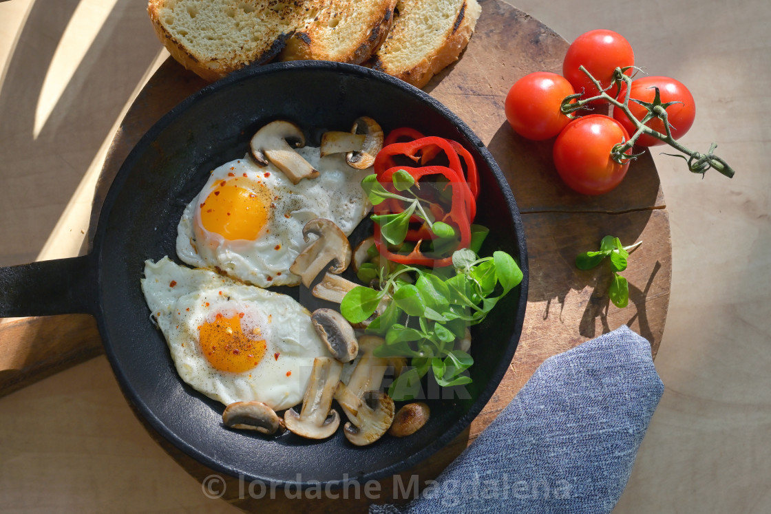 """""""Fried Eggs In A Frying Pan"""" stock image"""