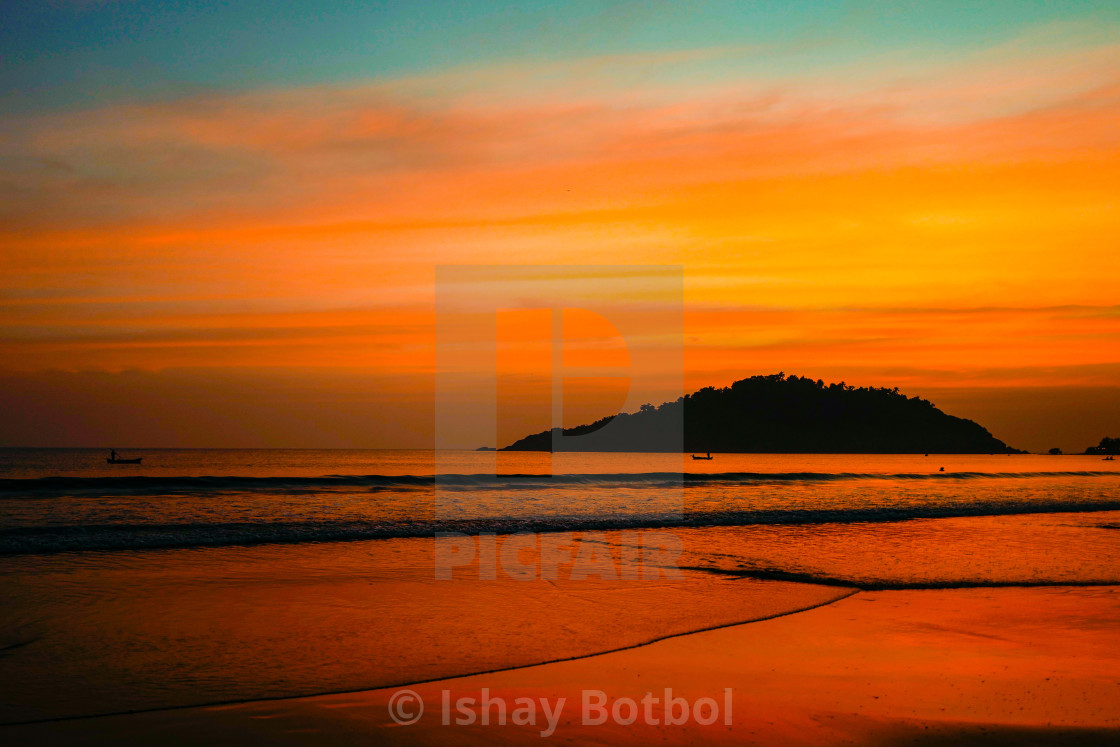 """Sunset colour meditation, Palolem beach Goa India, 2017 ."" stock image"