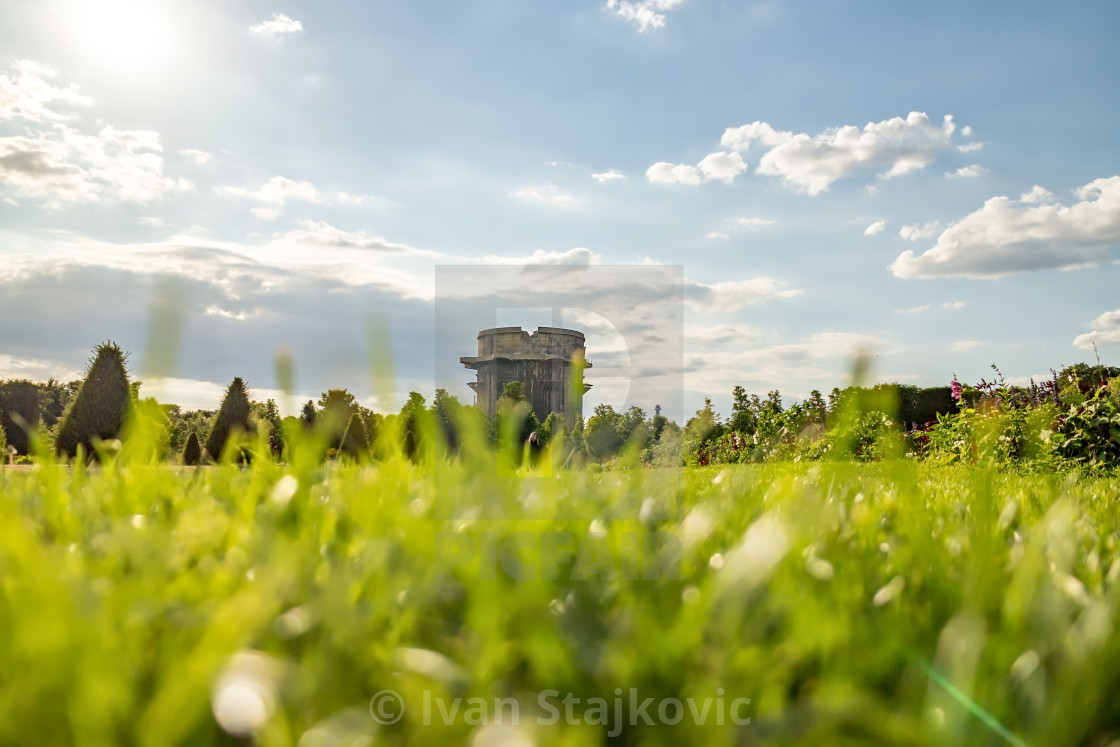 """Flak-Tower in Vienna Ausgarten Park."" stock image"