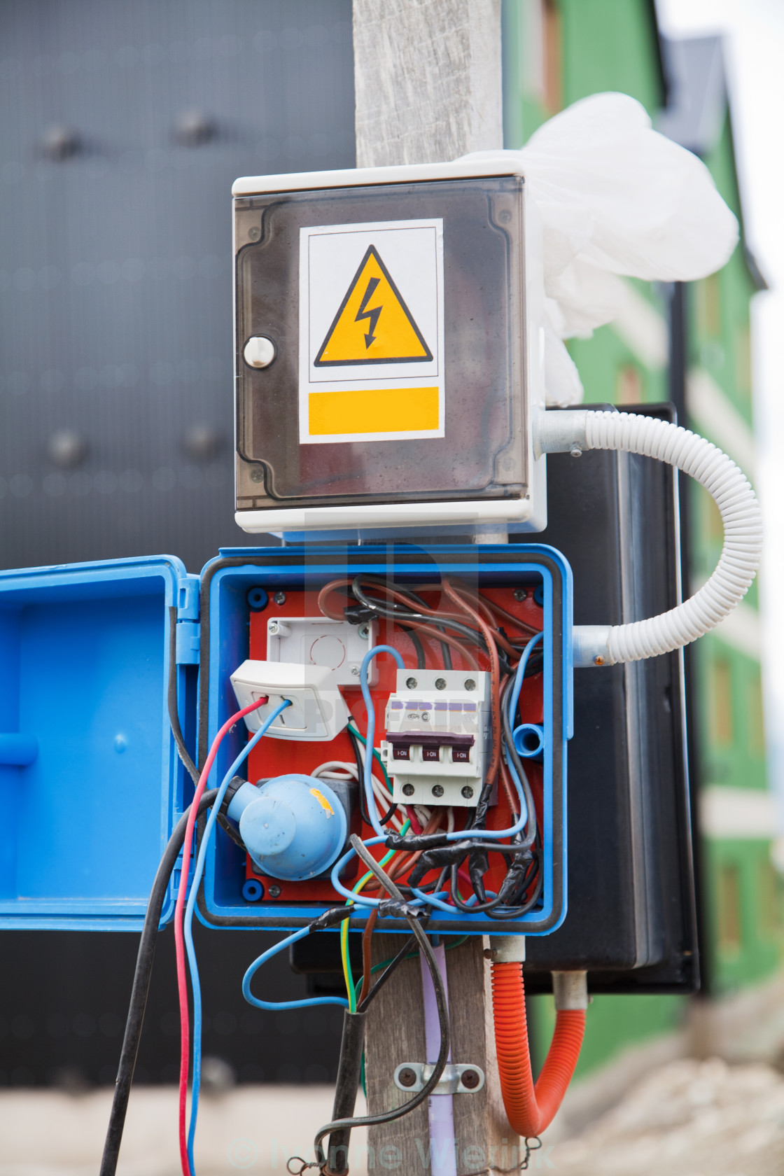 Dangerous Electricity License For 372 On Picfair Electrical Wiring Stock Image