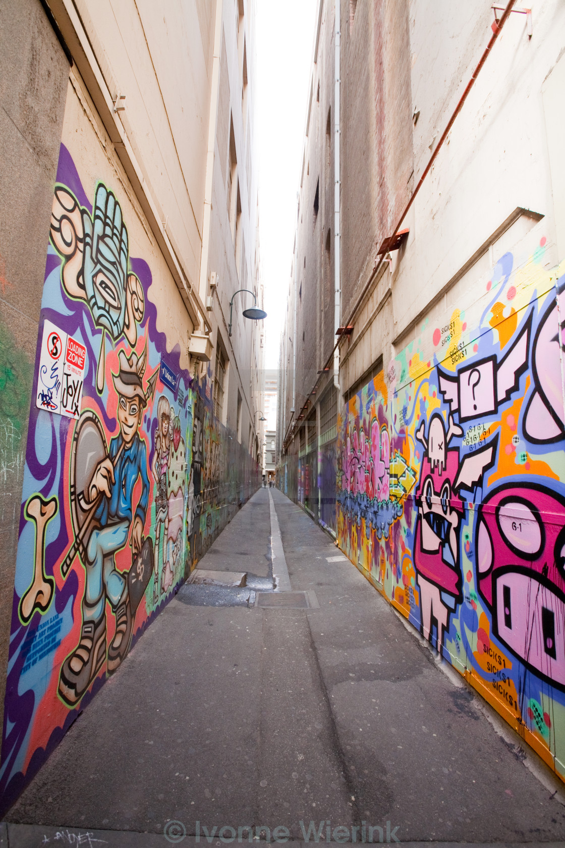 """Alley with many Graffiti"" stock image"