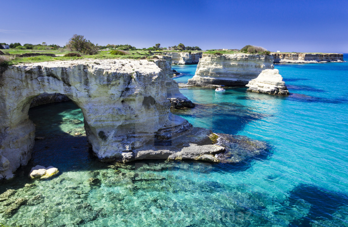 """""""Turquoise waters of Sant Andrea Salento, Italy"""" stock image"""