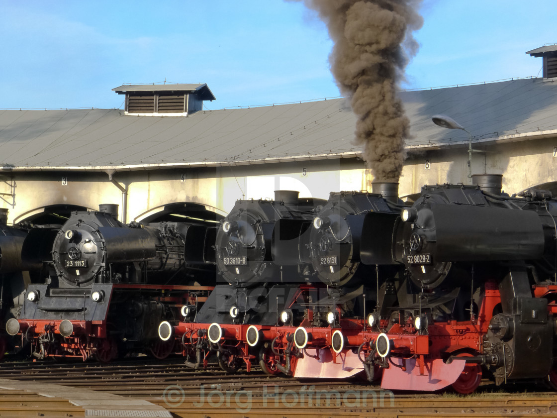 """""""Steam Locomotives in the Roundhouse"""" stock image"""