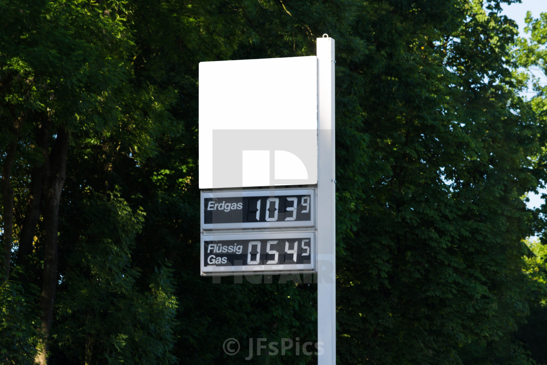 """""""Blackboard at a gas station with current gas price"""" stock image"""