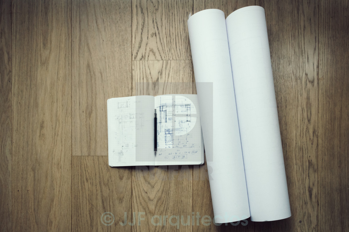 """Architect plans and notebook"" stock image"