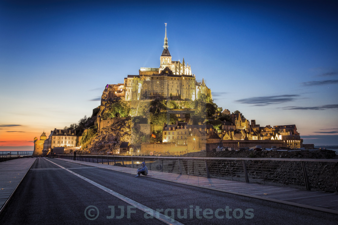 """Mont Saint Michel at dusk"" stock image"