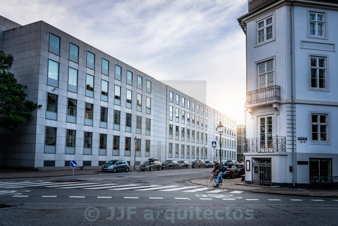 """Biking in Copenhagen at sunset"" stock image"