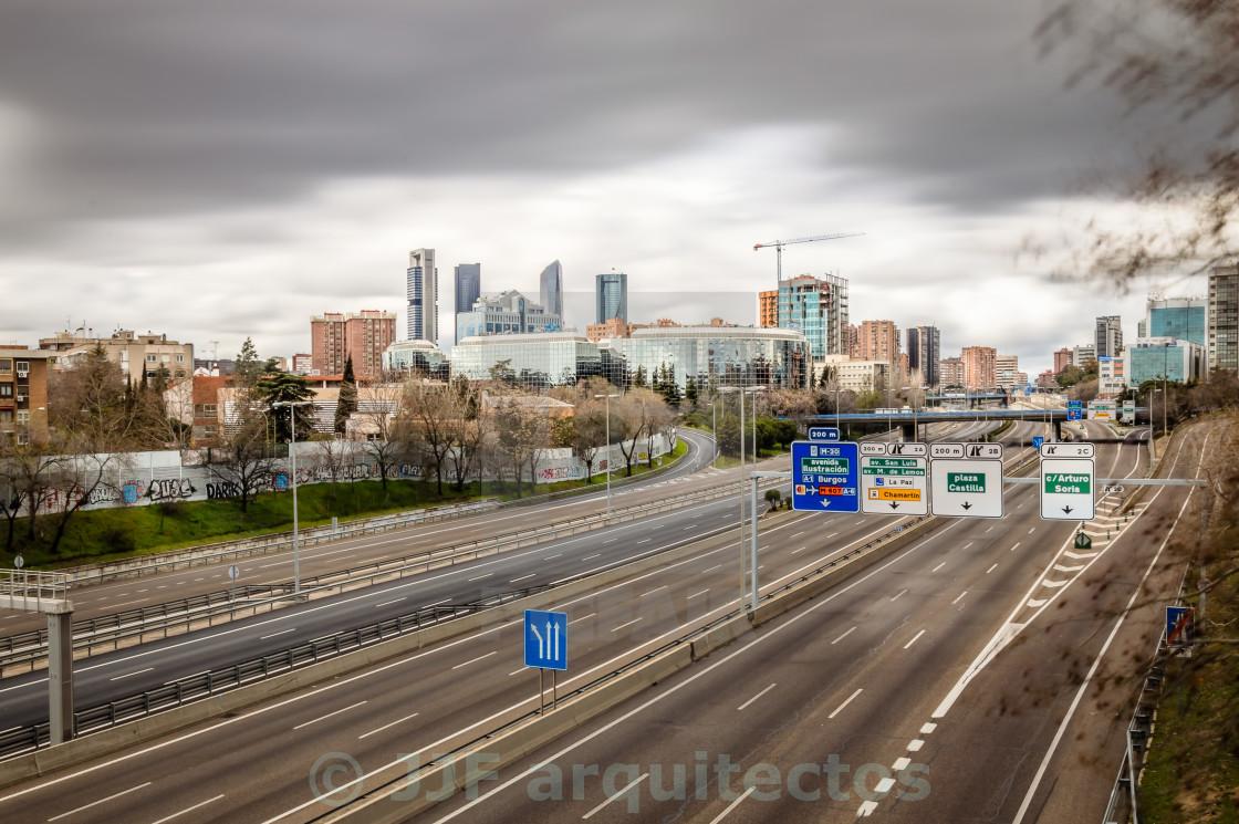 """Madrid cityscape long exposure"" stock image"