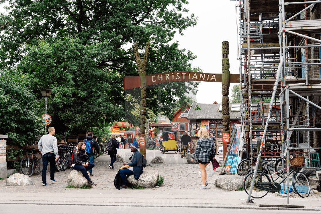 """Entrance to Christiania"" stock image"