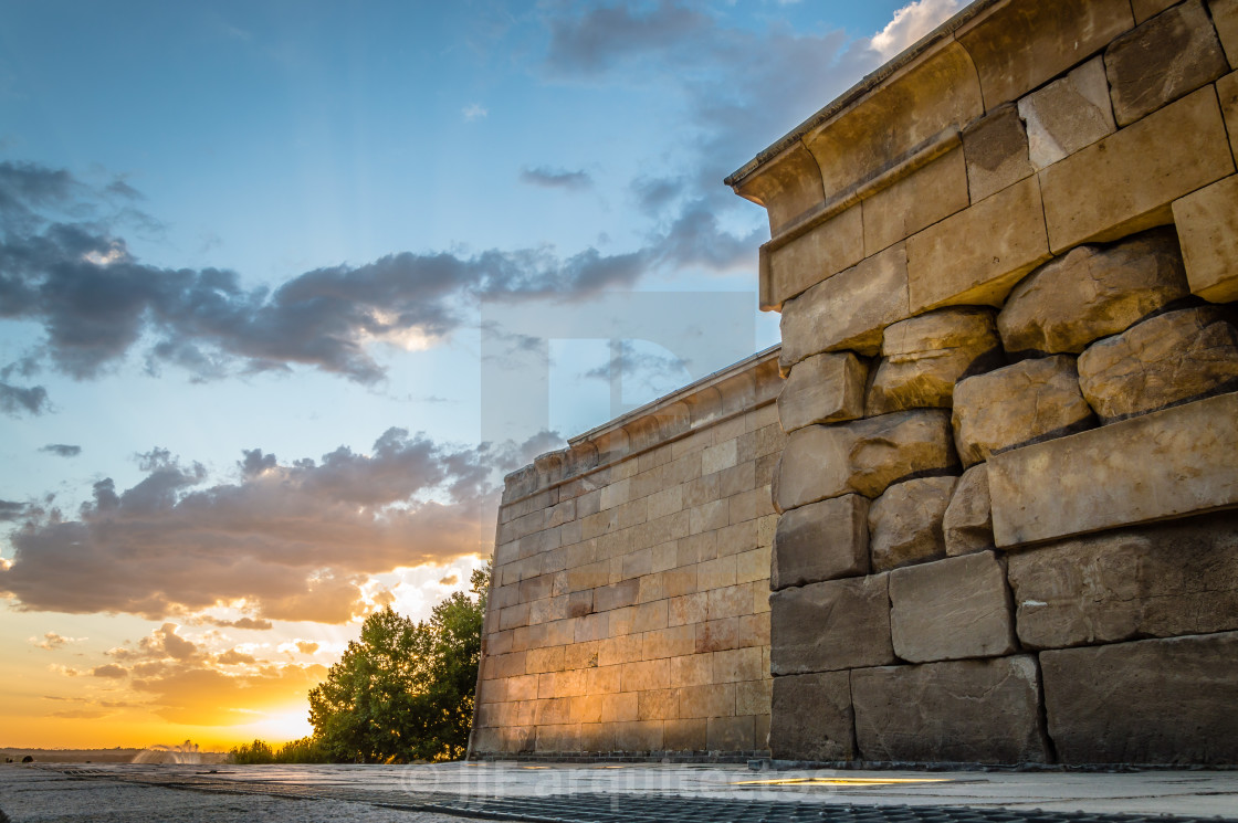 """Sunset on Temple of Debod in Madrid"" stock image"