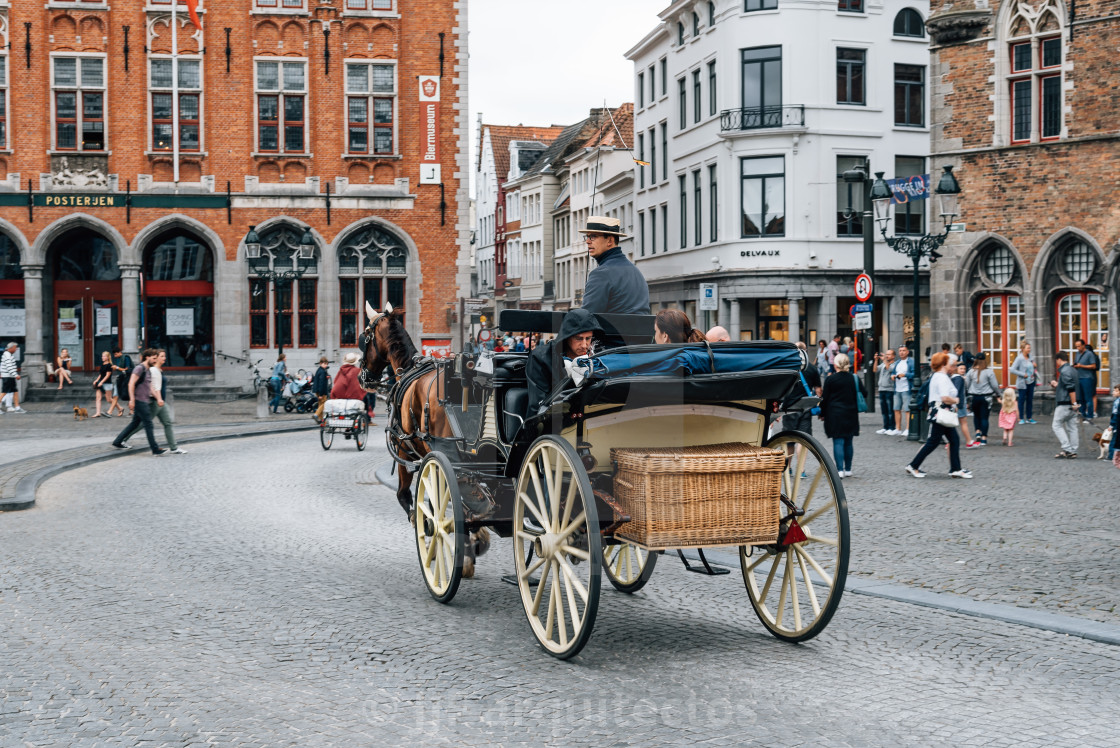 """Horse carriage for tourists in Market Square in the medieval cit"" stock image"