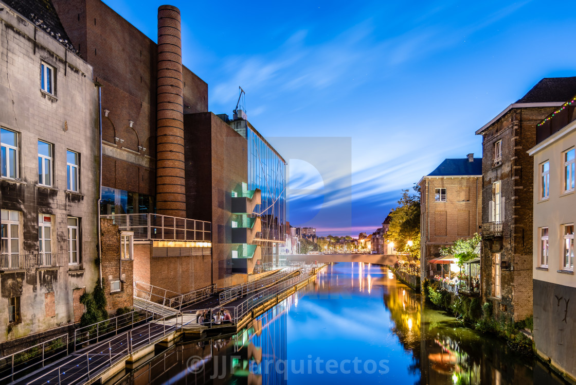 """Cityscape of Mechelen from the canal at sunset"" stock image"
