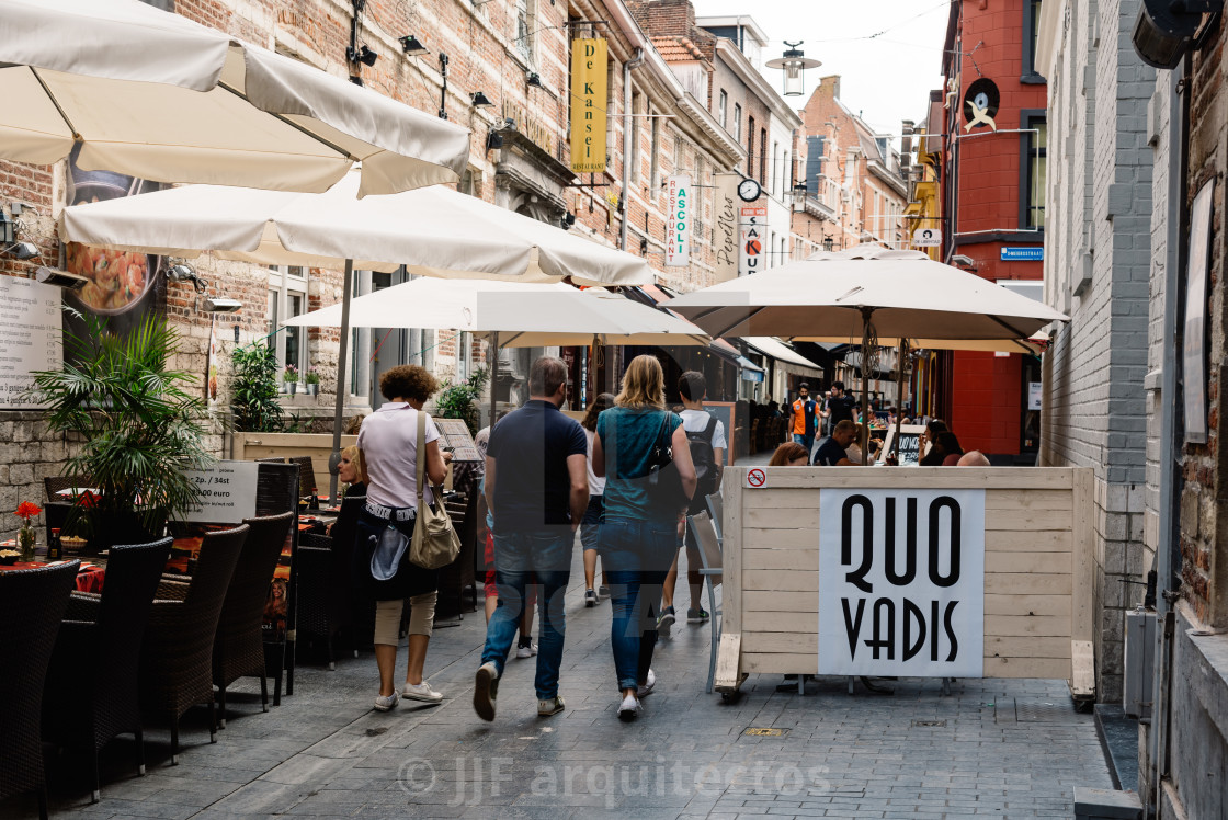"""Commercial street with restaurants in the city of Leuven"" stock image"