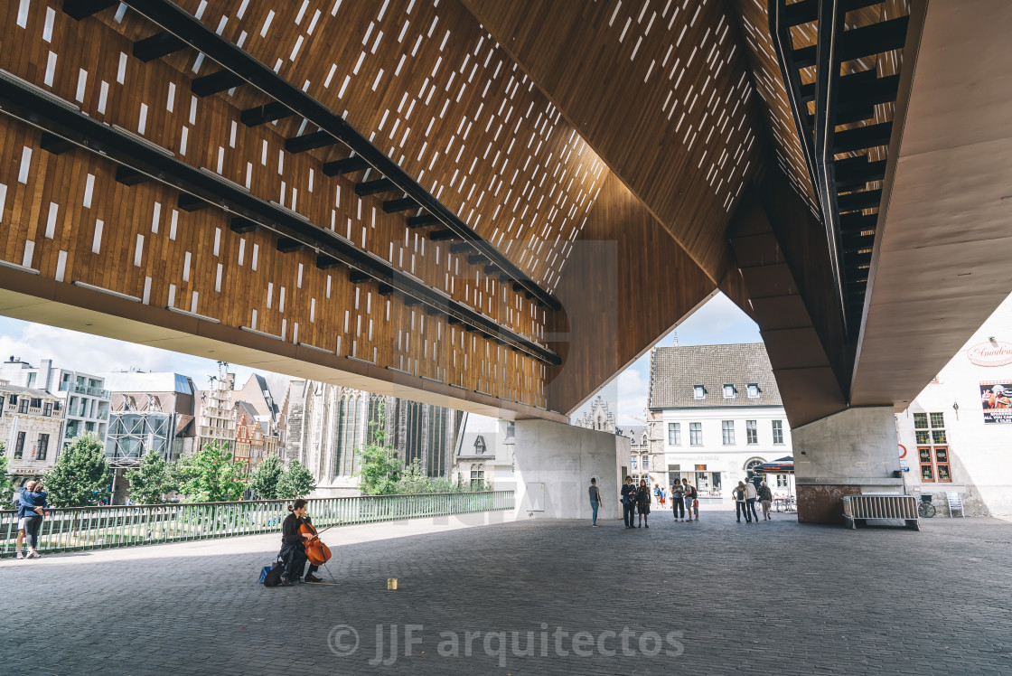 """Cityscape of Ghent. View under the Stadshall"" stock image"
