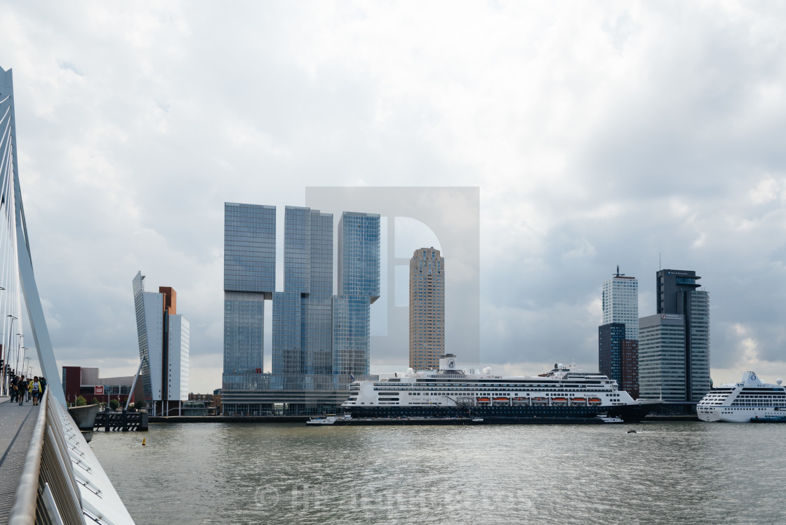 """Erasmusbrug and Rotterdam cityscape"" stock image"