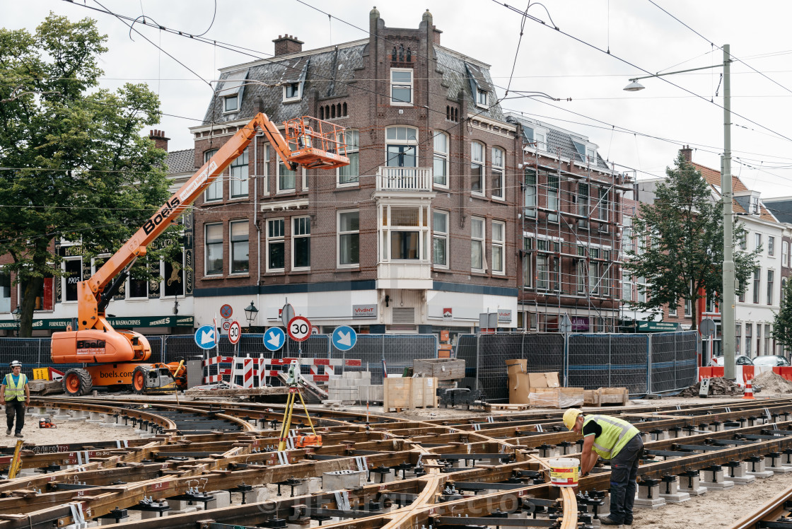 """View of construction site for repairing tram tracks in the city"" stock image"