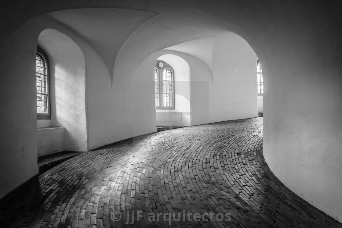 """The Rundetaarn is a tower located in central Copenhagen, it w"" stock image"