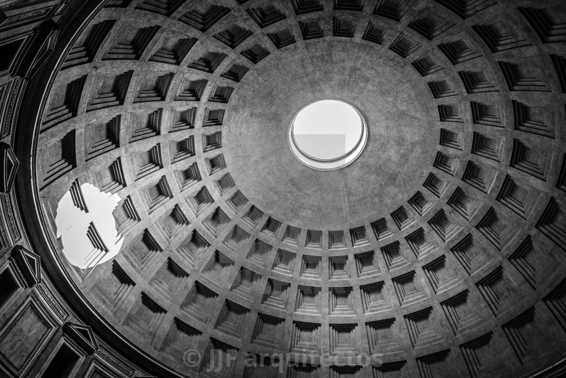 """Interior view of the dome of the Pantheon of Agripa in Rome."" stock image"