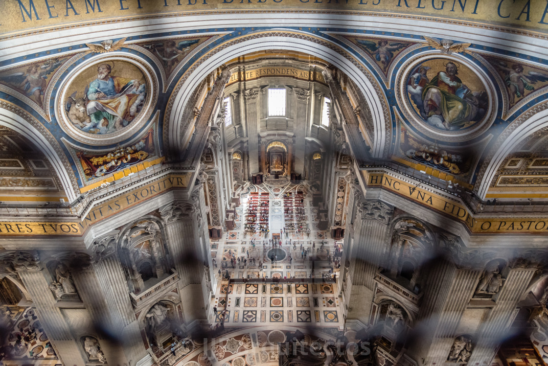 """High angle view of the interior of St Peters Cathedral from the"" stock image"