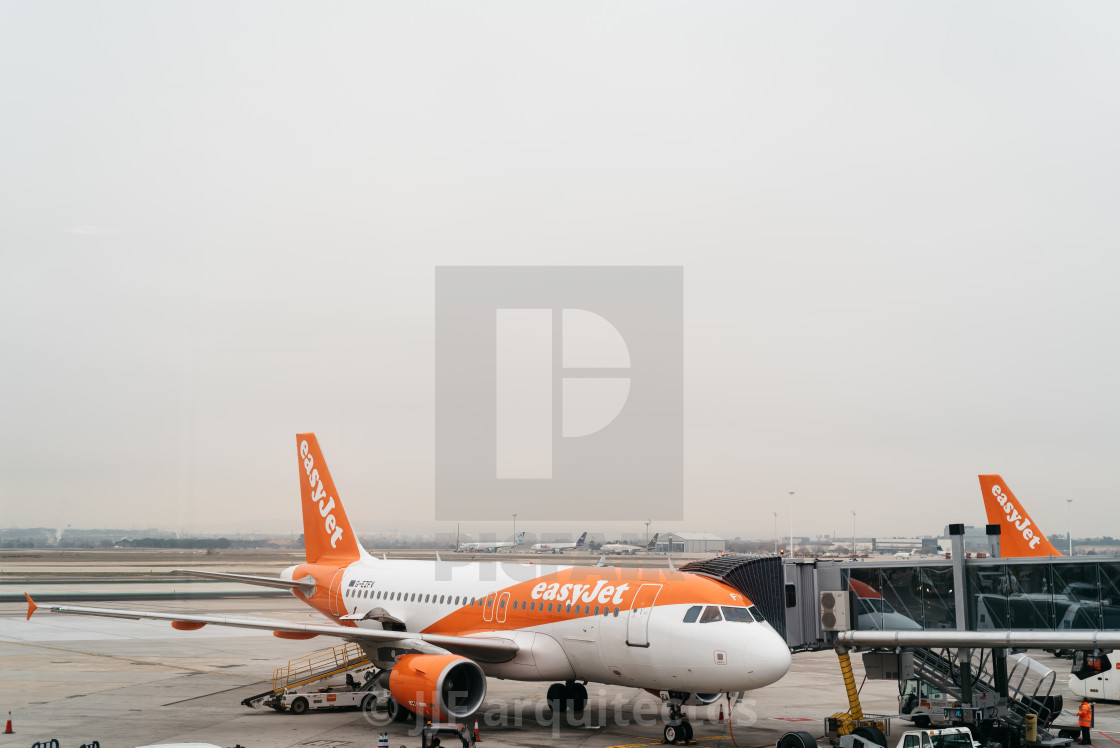 """Airplanes in runway ready to takeoff"" stock image"