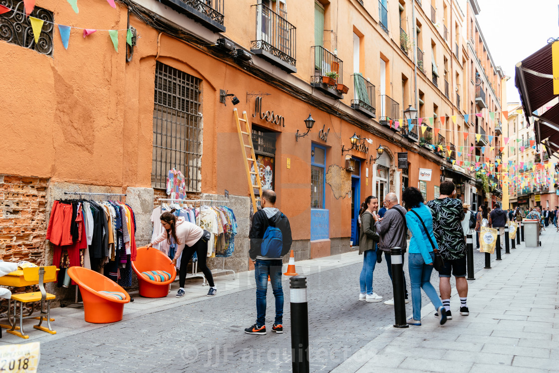 """View of flea market in Lavapies Quarter in Madrid"" stock image"