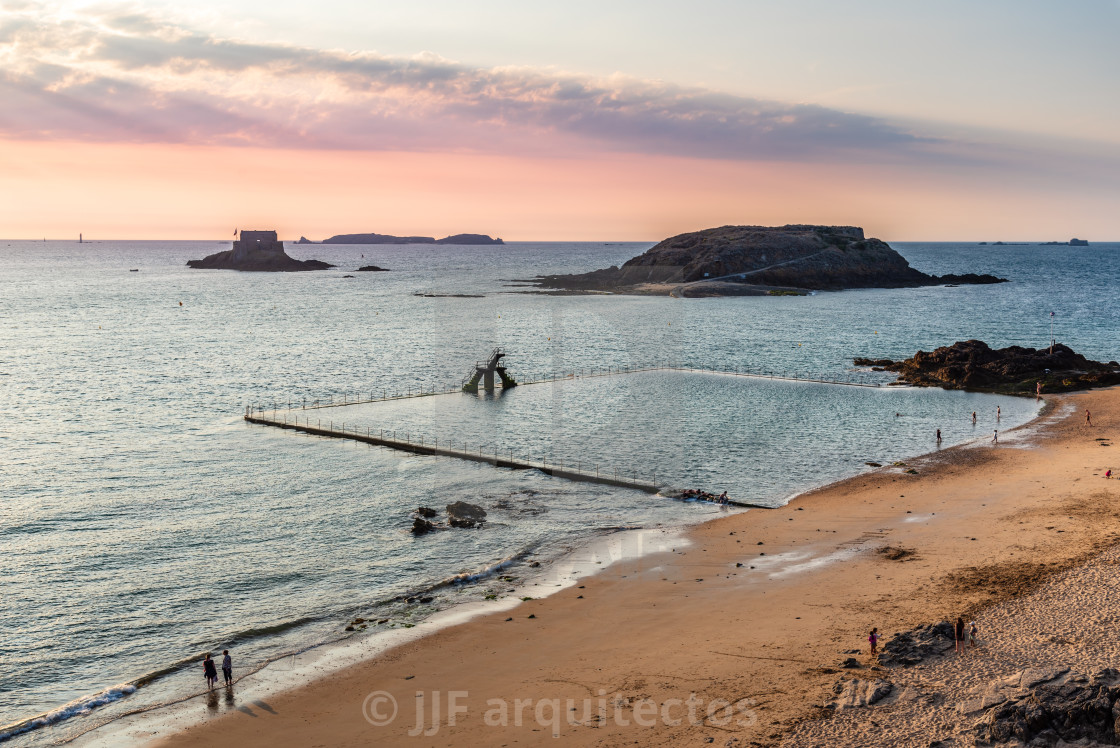 """High angle view of the beach of Saint Malo"" stock image"