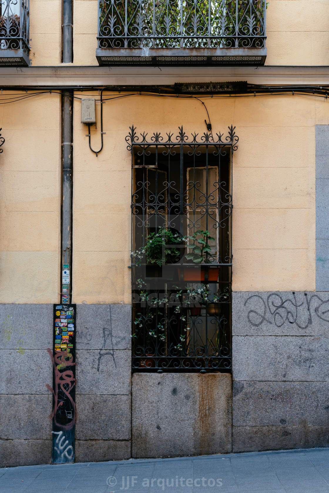 """Old window in Malasana district in Madrid"" stock image"