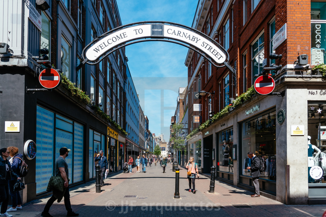 View of Carnaby Street. It is a pedestrianised shopping street in Soho in  London - License, download or print for £15.00 | Photos | Picfair
