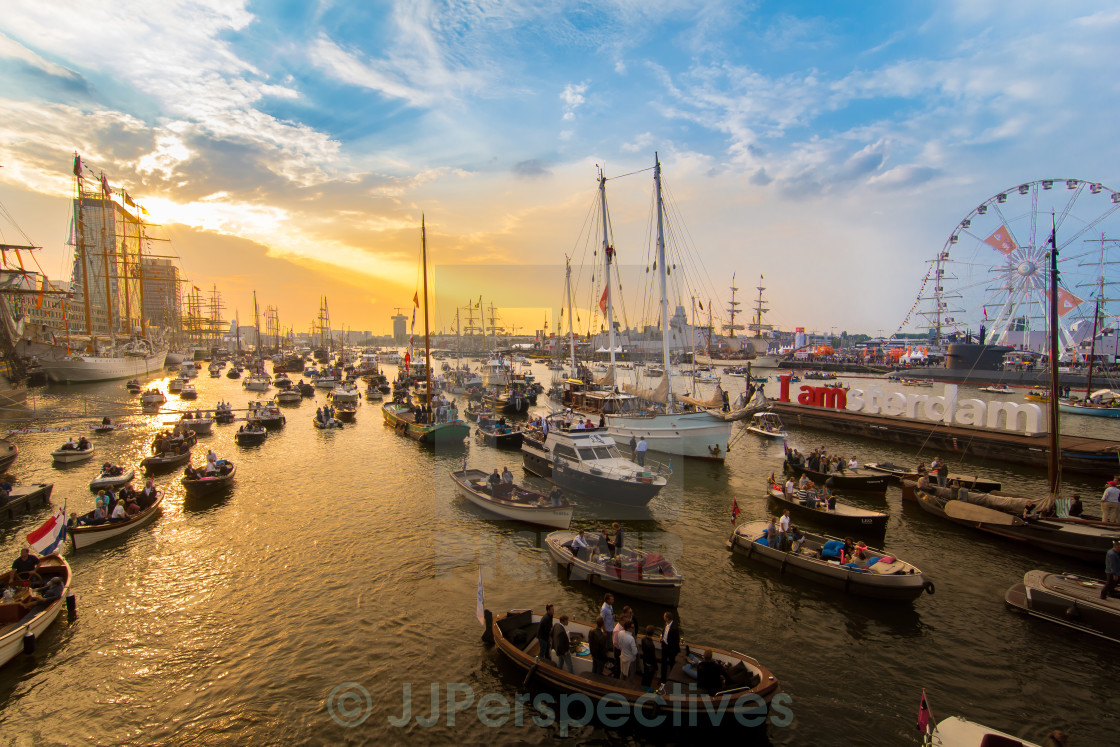 """Sunset over Amsterdam"" stock image"