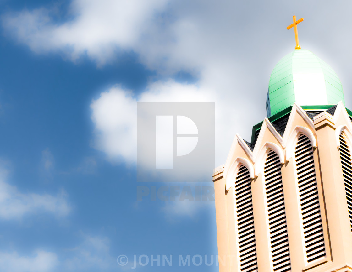 """CHURCH STEEPLE IN THE CLOUDS"" stock image"