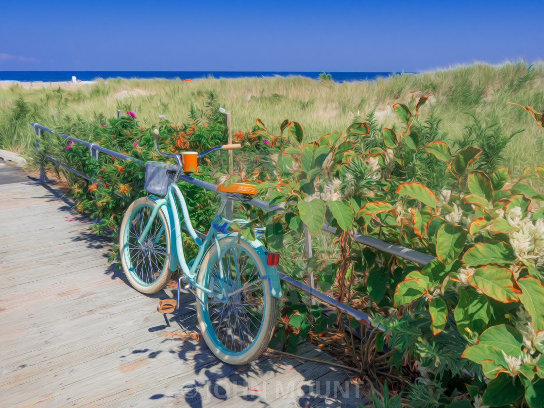 """BEACH CRUISER BICYCLE ON THE BOARDWALK"" stock image"