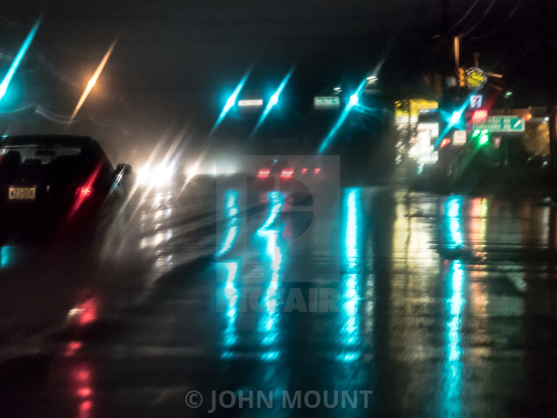 """NJ TURNPIKE IN THE RAIN"" stock image"