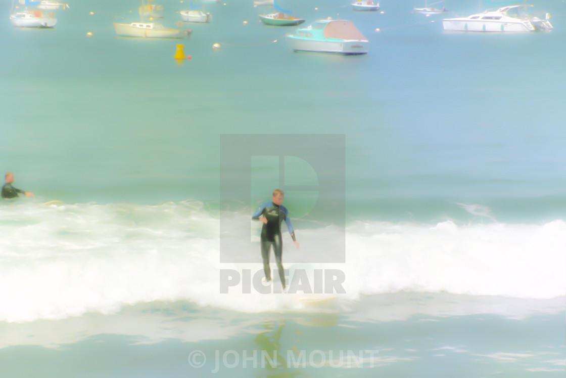 """Surfer at Monterey Bay"" stock image"