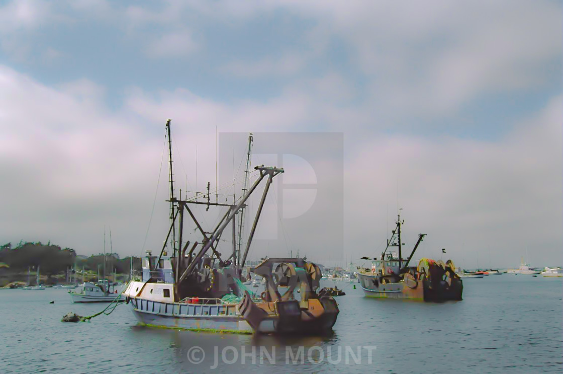 """""""Fishing Boats in Monterey Bay"""" stock image"""