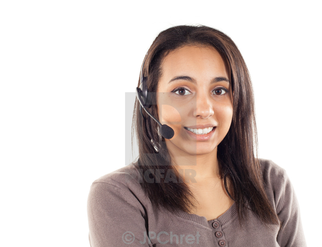"""Portrait of happy smiling cheerful support phone operator"" stock image"