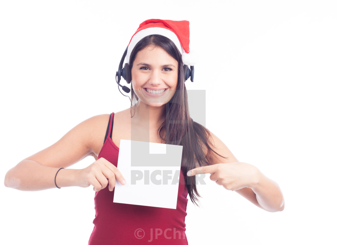 """Christmas phone operator woman showing blank signboard"" stock image"