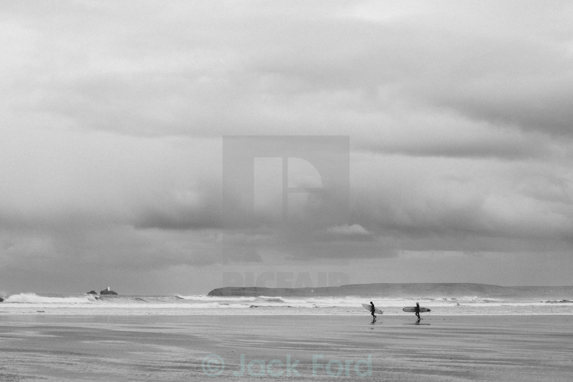 """Surfers // Cornwall"" stock image"