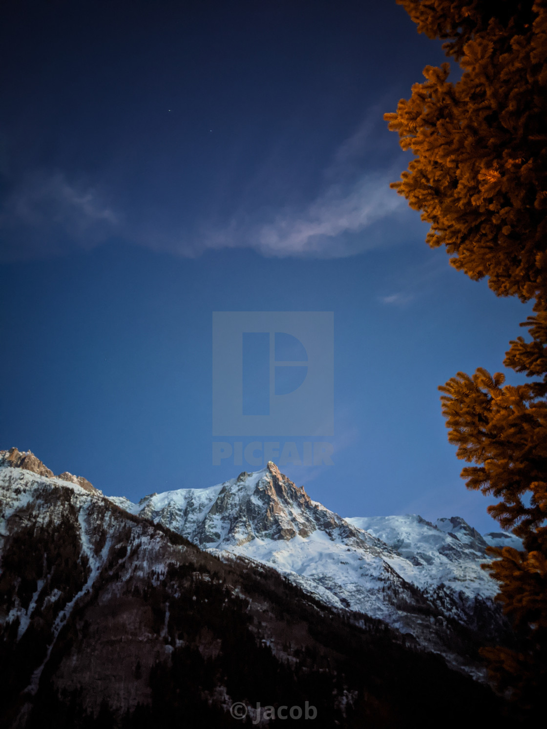 """Dusk on Aiguille du Midi"" stock image"