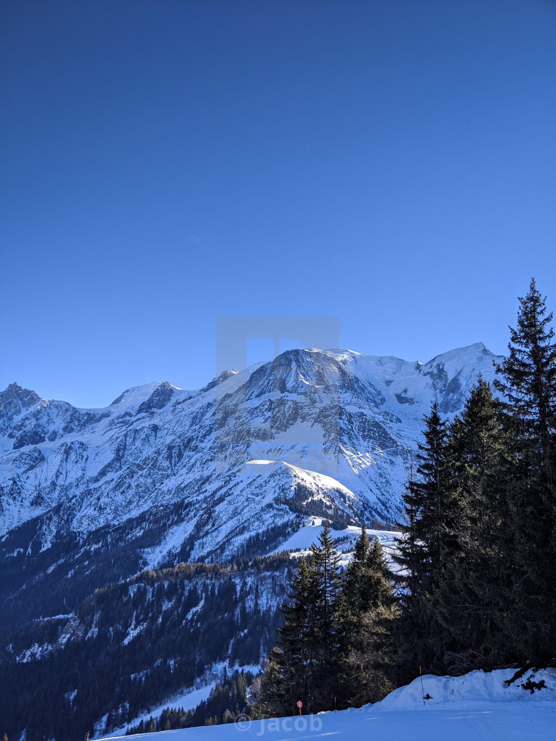 """""""Mont-Blanc Massif from Le Prarion"""" stock image"""