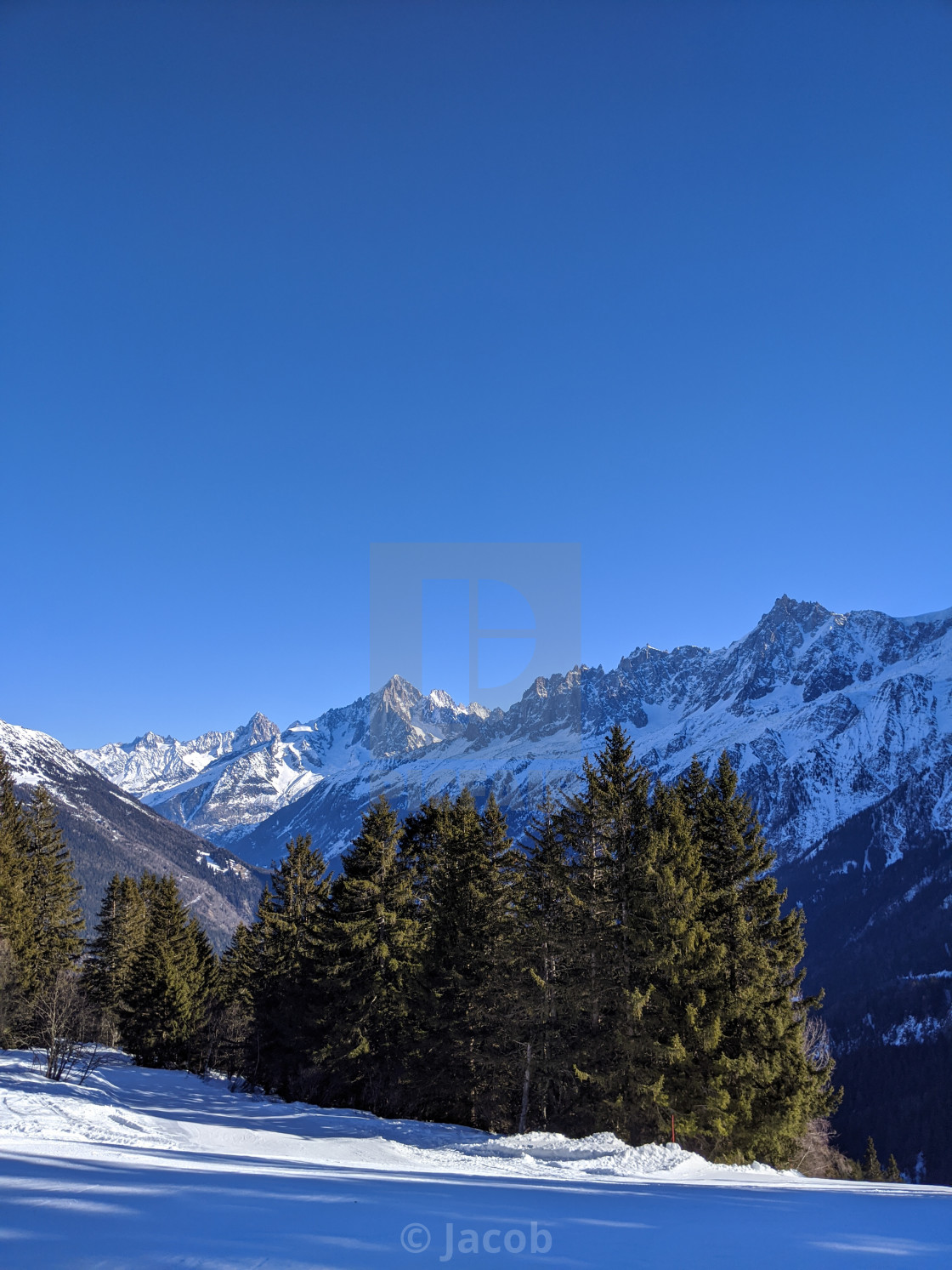 """""""The Chamonix Valley and the Mont-Blanc Massif"""" stock image"""