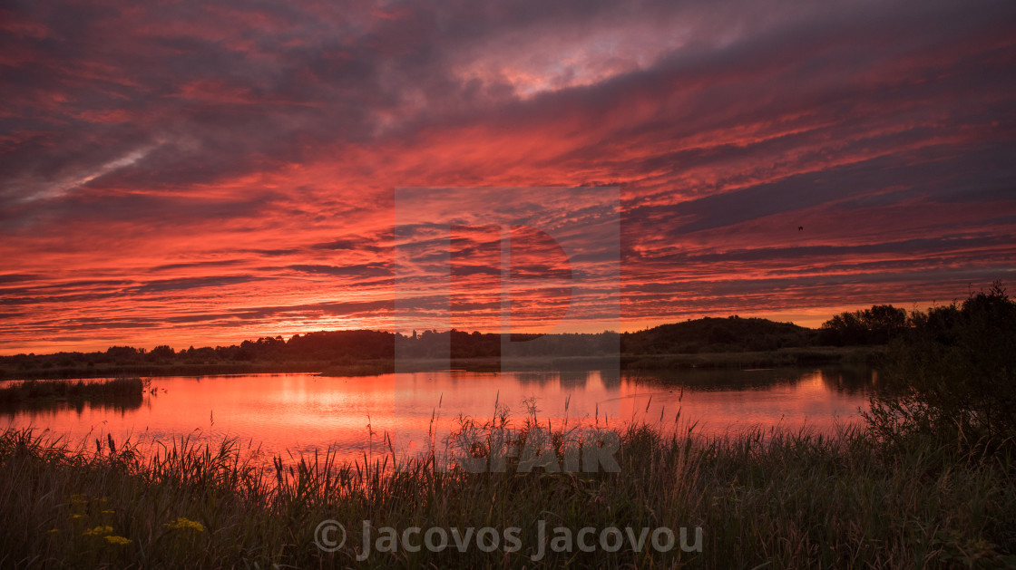 """Sunrise over Drayton RSPB"" stock image"