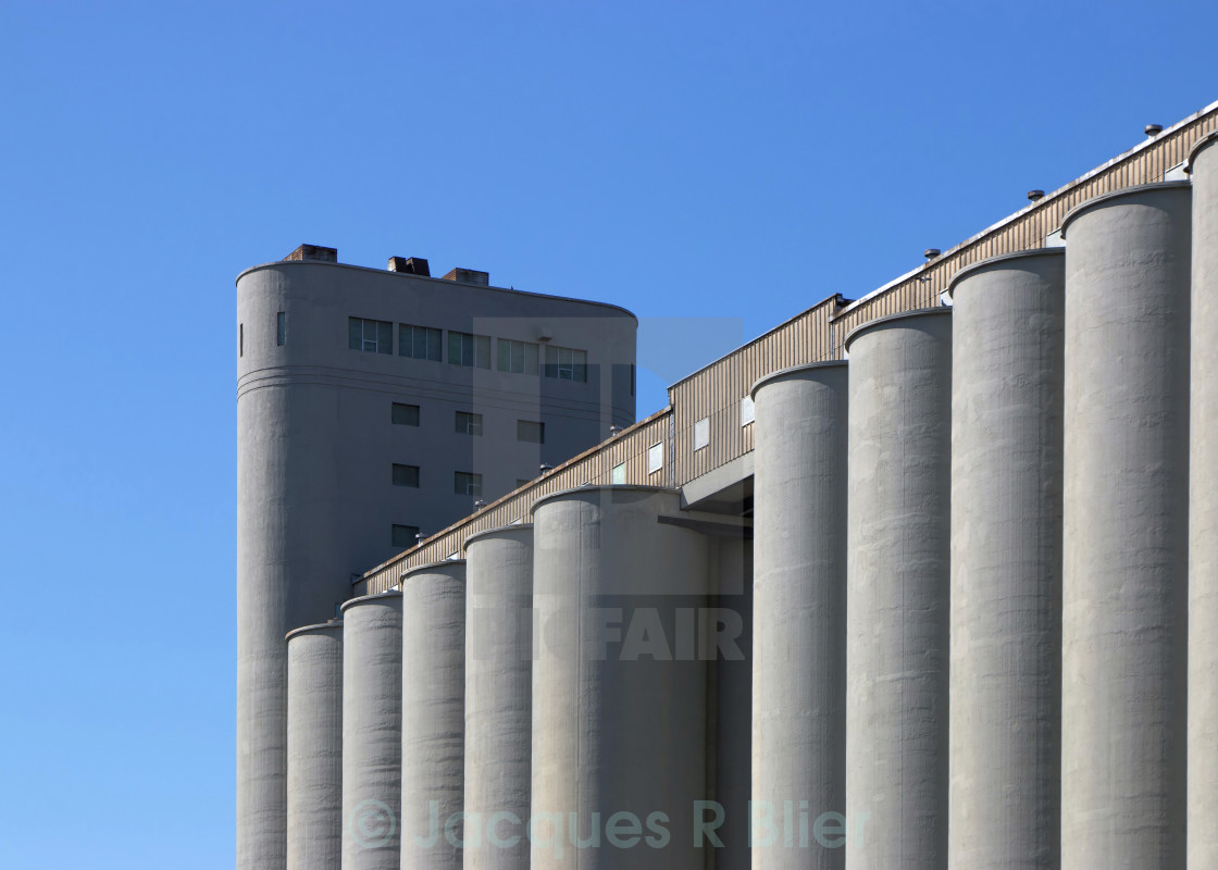 """Montréal modern flour silos natural color"" stock image"