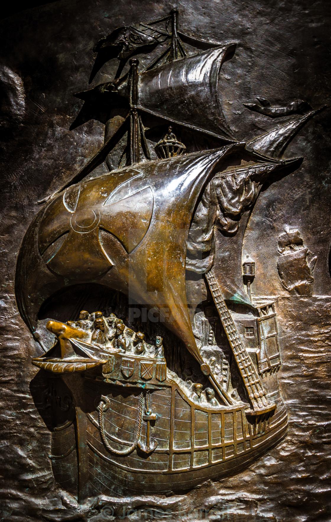 """""""Engraving of Ferdinand Magellans ship"""" stock image"""