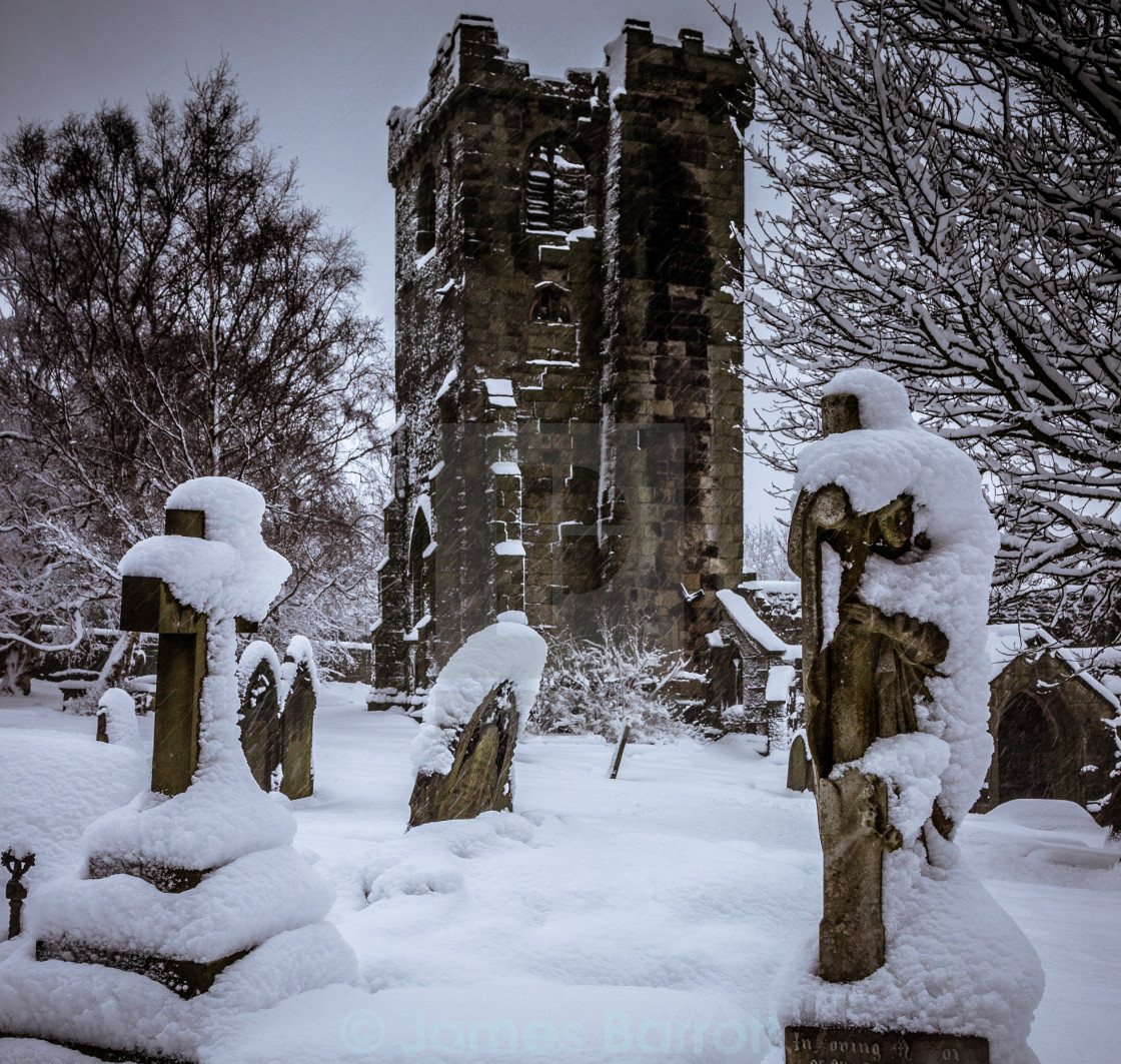 """""""Winter in the churchyard."""" stock image"""