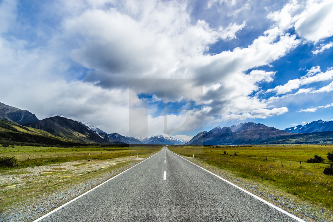 """The road to Mt Cook."" stock image"