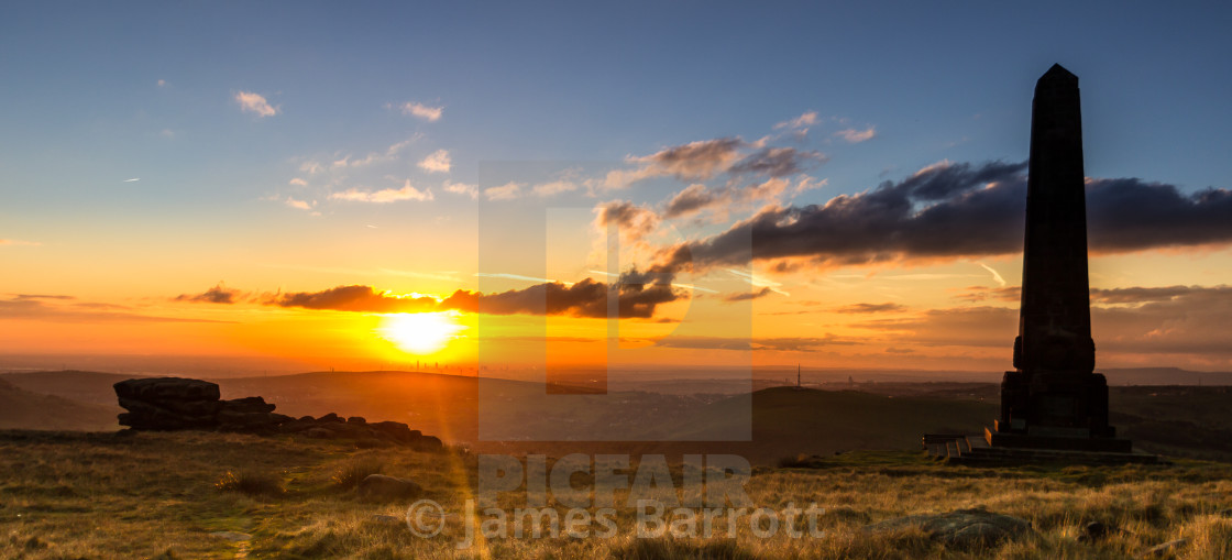 """Sunset over Saddleworth"" stock image"
